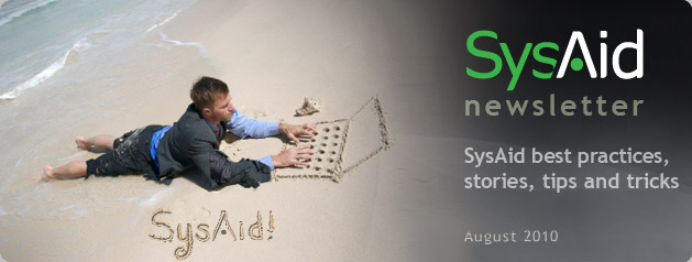 SysAid August 2010 Newsletter Header